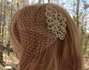 Bridal Bandeau Veil, Wedding Birdcage Veil, Rhinestone Crystal Veil, Art Deco Veil, Wedding Bridal Veil