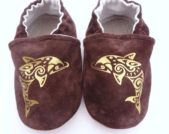 Slippers in Brown genuine leather with gold dolphins