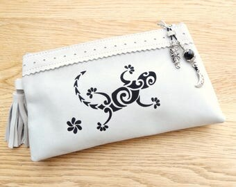 Vanity case in grey-white genuine leather with lizard and charm