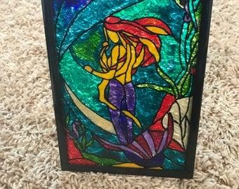 Glass painting, Mermaid, Sea, Fishes, Lagoon, Rock, Sing