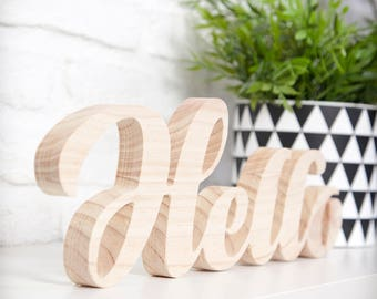 Embossed Wood Letters-Hello-typography, customizable size and text
