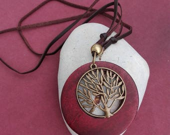 Tree and wood necklace