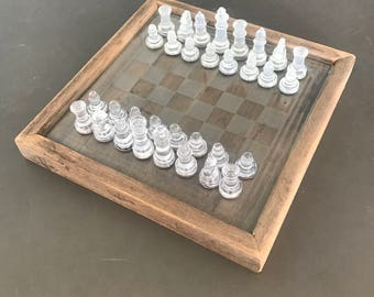 Custom Mahogany/Glass Chess Set