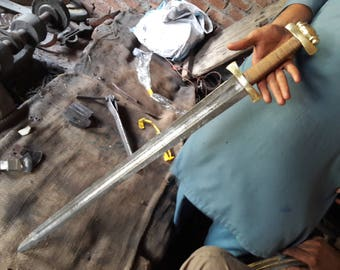 """38"""" Damascus Brass & double shaded wire wrap handle viking sword"""