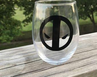 Deadpool Themed Stemless Wine Glass