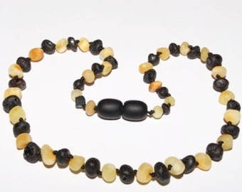 Genuine Raw Baltic Amber Baby Teething Necklace Unpolished Butter / Black