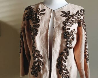 Vintage Fully Fashioned 50s-60s Beaded Sweater