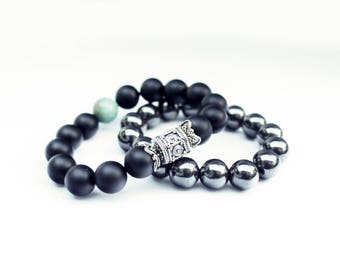 Trendy Modern men Easily Sixbox Bali Onyx Beads Bracelet