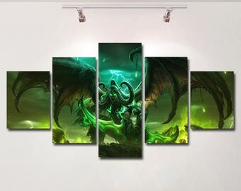World of Warcraft Legion poster canvas wall art print painting wall hanging home decor High Quality 5 piece set birthday Gift kids room game