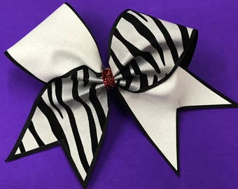 Glitter/Zebra Criss Cross Cheer Bow-Black/White/Red