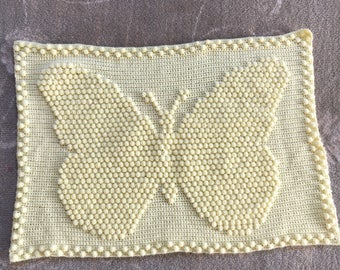 Lemon butterfly baby pram blanket