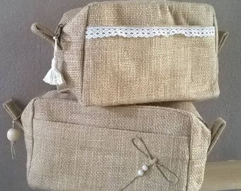 Kit in Burlap, toiletry bag in Burlap lace, dragonfly, makeup, travel bag, natural case pouch cosmetic