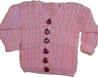 Hand made crocheted baby sweaters 6 to 12 months Pink