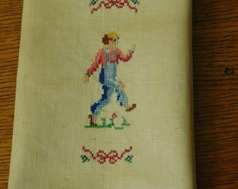 Vintage Petit Point Counted Cross Stitch, Needlework, hand sewing, boy skippig, fingertip towel, 1970's linen, photo prop, wedding decor