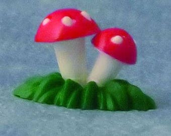 Toadstool on Base for Fairy Gardens and Dolls Houses