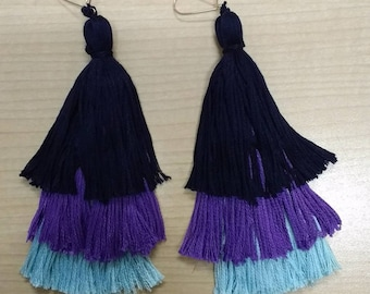 Customized 3-Tier Tassel Earrings