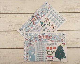 December Erin Condren Monthly Kit, Winter, Snow, Snowflakes, Penguins