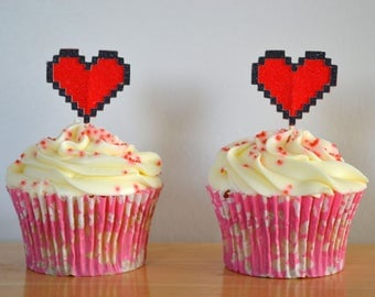 Pixel Heart Cupcake Topper/ Pack of 6/ 8-bit Heart Cake Toppers/ Decoration