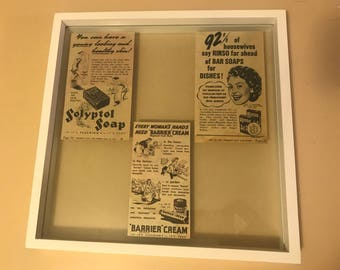 Authentic 1950's Vintage Newspaper Clippings Framed