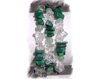 Rock crystal and Aventurine natural stone Malachite