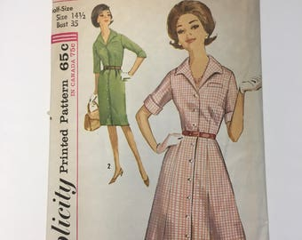 1960s Slim or Flared Fitted Bodice Dress Simplicity 5027 Vintage Sewing Pattern Misses Shirtdress