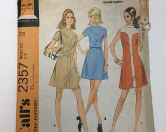 McCalls 2357 Vintage Patterns 1970's  Dress in Three Versions cut complete mod mad men style dress