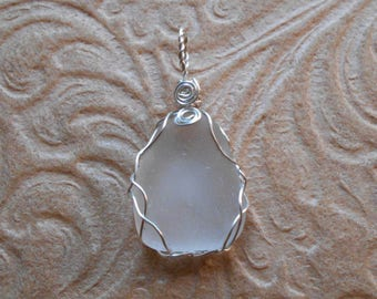 Oval White Wire Wrap Beach Glass Pendant