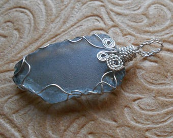 Grey Beach Glass and Wire Wrap Pendant