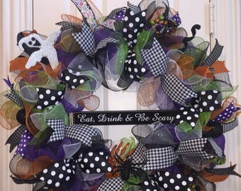 Eat Drink & Be Scary Halloween Wreath, Halloween Wreath, Happy Halloween Wreath, Front Door Wreath, Halloween Decor, Halloween Decoration