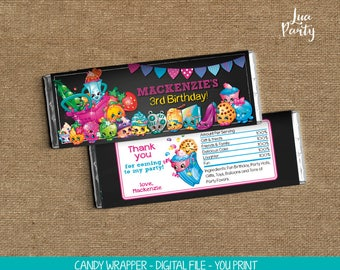 Shopkins candy wrapper print yourself, Shopkins birthday candy wrapper, Shopkins birthday chocolate wrapper