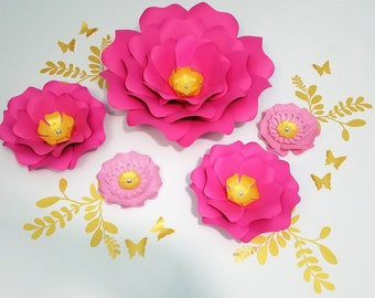 Large pink gold flowers. Paper flowers wall decor. Flowers pink wall art. Nursery pink flowers decor. Wedding backdrop. Cake smash flowers.