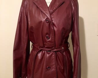 Etienne Aigner Oxblood belted red leather 70s jacket coat 1970s women's vintage retro burgundy maroon trench 80s 1980s belt