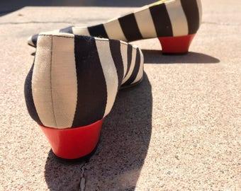 vintage Escada pumps // striped canvas // red heel //