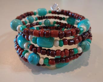 Memory Wire Beaded Bracelet.  Turquoise and brown.