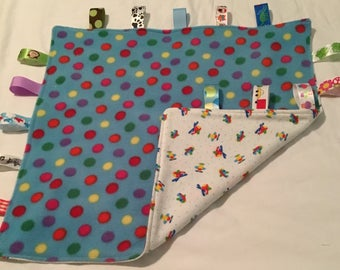 Baby Blanket with Tags - Airplanes and Polka Dots