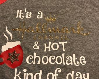 It's a Hallmark channel and hot chocolate kind of day - grey/red raglan