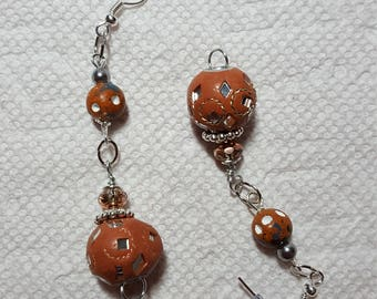 Brown n Mirror Earrings Silver Tone Accents