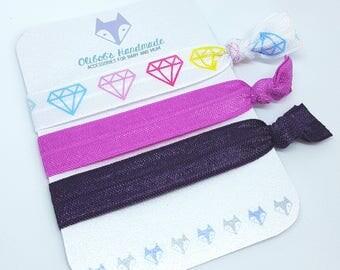 Hair Ties | Elastic Hair Ties | Hair Tie Bracelets | Diamond | Fuschia | Purple