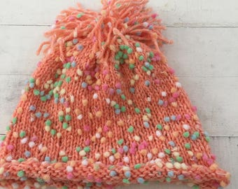Hand Knit Baby/Toddler Hat, Peach, Beanie, Pom Pom