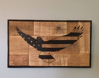 Wood Sign Eagle Flag Pyrography Wood Wall Art