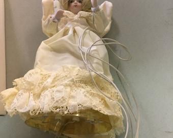 Vintage porcelan christmas electrified 10 light tree top angel
