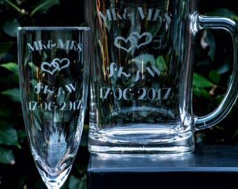 Personalised glasses bridal party mr &mrs