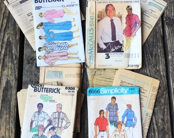 Set of 4, Men's Fashion, Vintage Sewing Patterns, Butterick, McCall's, Simplicity