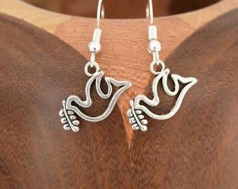 Silver Dove bird clips, silver peace dove earrings