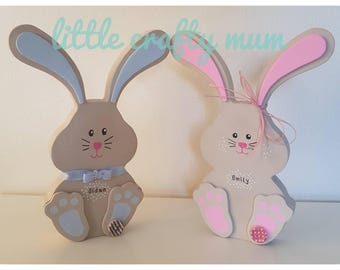 Freestanding wooden bunny - Easter - Easter gift - Personalised -