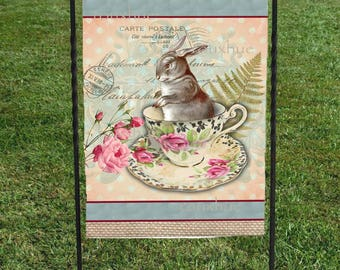 """Easter Bunny Flag, Vintage cup and saucer Burlap Beige Background, 12""""x18"""", Heat Set, Hand Sewn, Easter Decoration, Garden Art, Happy Easter"""