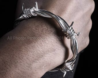 Barb Wire Bangle Bracelet - Mens Barbed Wire Wristwear - Solid Sterling Silver