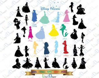 Disney Princess SVG Disney Princesses Silhouette Disney Princess clipart Disney Princess decor Svg Dxf Eps Png Cut files for Cricut Cameo