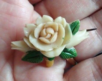 Vintage Celluloid Flower Brooch