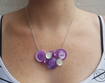 Unique purple button necklace, up-cycled necklace, statement jewellery.